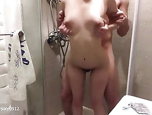Asian;Shower;Chinese;Small Tits;Doggy Style;Bathroom;Dogging;Shower Sex;Tight Pussy;One Leg;Couple Sex China couple...