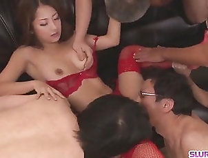 Asian;Cumshot;Group Sex;Japanese;Lingerie;HD Videos;Big Tits Amateur in red...